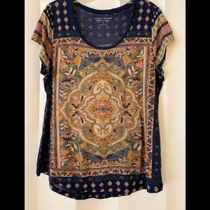 Lucky Brand Navy Medallion Tee - Size Large